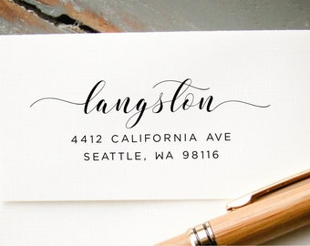 Address Stamp, Self-Inking Return Address, Modern Calligraphy, Personalized Rubber Stamp, Wedding Invitation Envelope Addressing