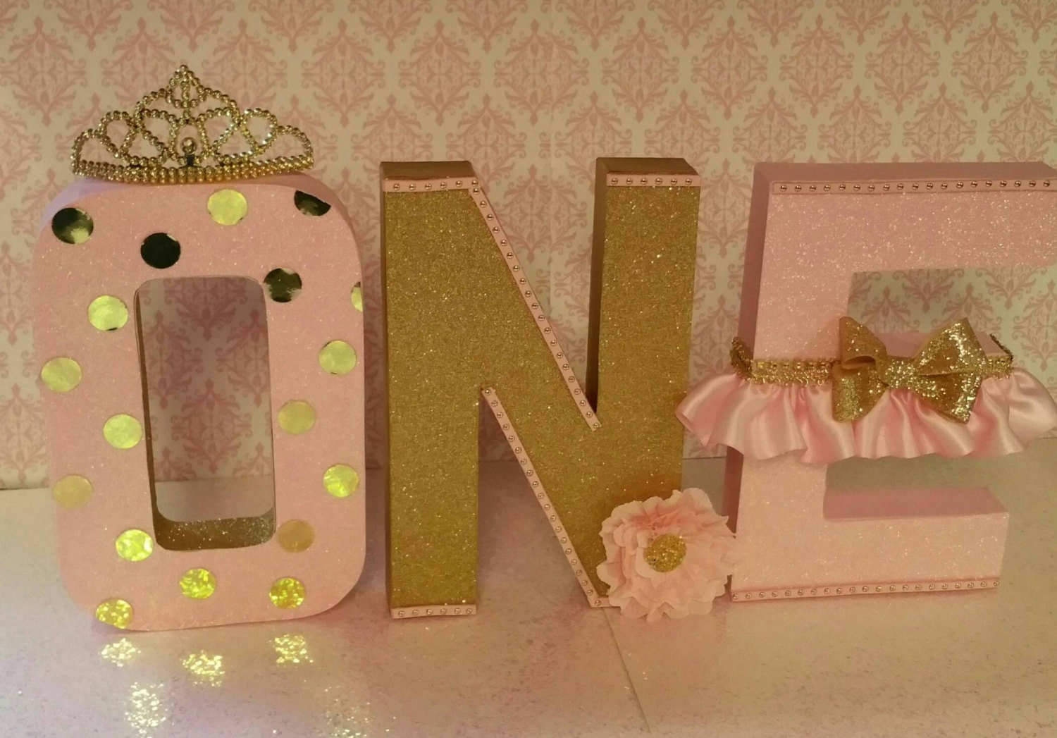 Pink and gold letters birthday letters first birthday for S letter decoration