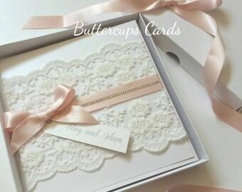 Luxury boxed Invitation, boxed wedding invitation, lace wedding invitation, white and pink wedding invite, wedding invitation package,