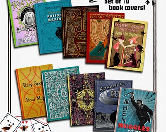 Harry Potter Book Covers - Hogwarts school books - Replica from the films - Pack of 10 Dust Jackets - Din A5
