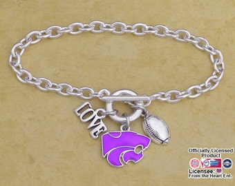 Kansas State Wildcats Iridescent Football Logo Bracelet