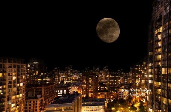 Vancouver Canada Moon Original Photography