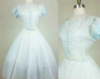 50s Day Dress Circle Skirt Belted Sheer Blue Floral M/L