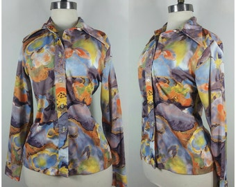 70s Disco Shirt Painterly Collared Button-up Shirt M
