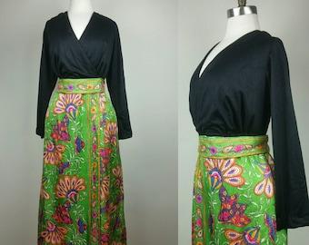 60s Maxi Dress Psychedelic Hippie Print L