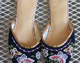 FREE SHIPPING! 1960s Beaded Blue Velvet Slippers with Butterfly Motif