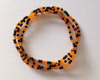 SALE, Halloween Jewelry, Orange and Black Bracelet, Seed Bead Bracelet, Halloween Bracelet, Stretch Beaded Bracelets, Orange Bracelet