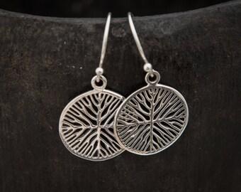 Circular Organic Branch Sterling Silver Drop Earrings