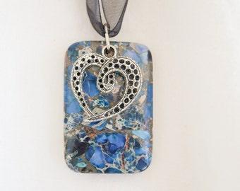 Heart Charm and Sea Sediment Jasper Pendant