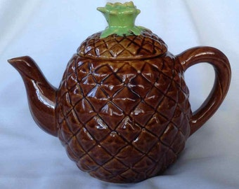 Vintage Cobb's Fruit Products Pineapple Pottery Teapot - Made in USA - 1950's