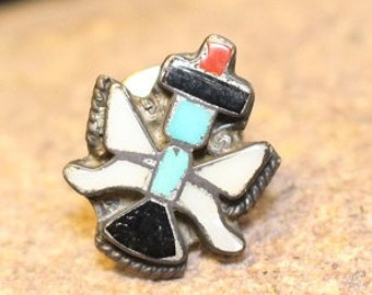 Vintage Zuni Tie Tack Pin Signed by Rue