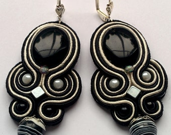 Soutache Earrings Zebra