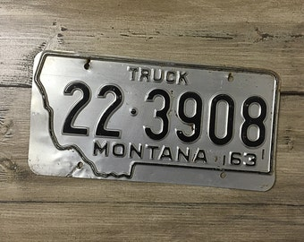 Vintage Montana License Plate 1963 | Silver Black Rusty | Man Cave Decor | Old Collectible | For Him | Garage