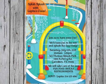 Water Park Birthday Party Invitation Primary Colors