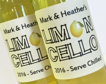 Limoncello Labels, sheet of 12, the more you buy the more you save, Also Orangecello, Limecello, Grapefruitcello!
