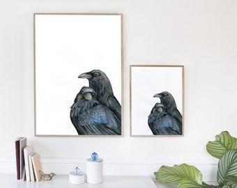Raven Lovers- watercolor raven art print