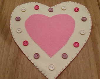 Felt and button heart shaped candle mat. Table decoration.Valentines decor