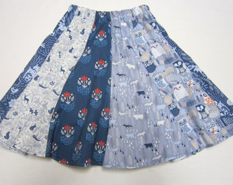 Girls Woodland Cotton Twirly Skirt in Blues and Grays Sizes  2  and  5