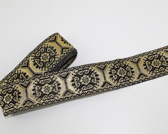Black and Metallic Gold Woven Ribbon Trim, 3 yards, T110