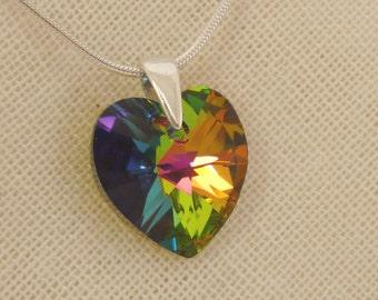 Colourful Swarovski Crystal Heart Sterling Silver Pendant - Vitrail Medium