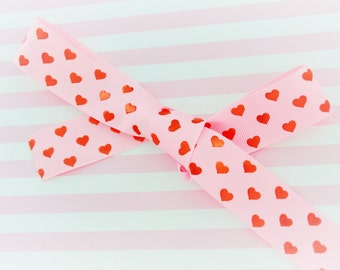 5 yds Pastel Pink Grosgrain Ribbon with Metallic Red Heart Print