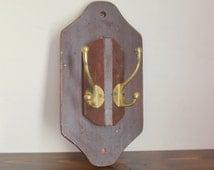 vintage wood wooden brass coat rack hat rack
