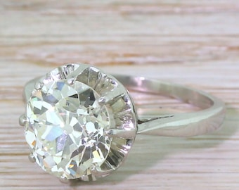 Art Deco 3.23 Carat Old Cut Diamond Engagement Ring, French, circa 1930