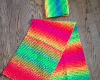 Rainbow scarf and toque set