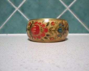 Vintage Wooden  Bangle - Hand painted - Floral - Pink and Blue