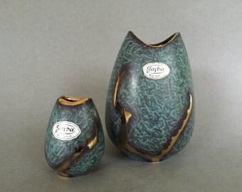 Jasba Keramik Set  582 - 12 and 582 - 6  Jaspatina  fishmouth  Vintage Mid Century  1950s ceramic Vase  -   West Germany Pottery WGP.
