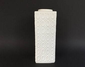 Seltmann Weiden Bavaria 905 square Op Art bisque porcelain Vase  West Germany 1960s Mid Century Modern.