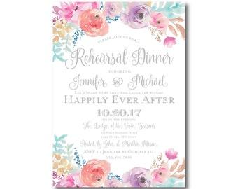 Floral Rehearsal Dinner Invitation, Watercolor Floral, Watercolor Invitation, Flower Wedding, Printed Rehearsal Invitation #CL198
