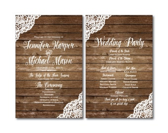 Rustic Wedding Program, Lace Wedding Program, Country Chic, Rustic Lace, Fall Wedding, Wedding Programs, Ceremony Order of Service #CL150