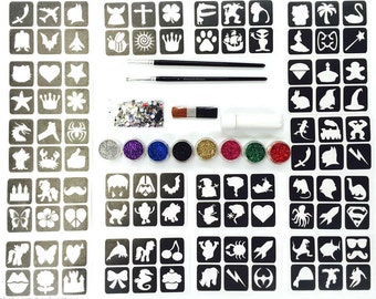 Glitter Tattoo Kit 22 - Princess And super Hero 96 Mini Stencils 8 Glitter 500 Gem Glue