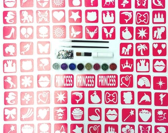 Glitter Tattoo Kit 19 - 97 Stencils 8 Glitters 3 Brushes Cosmetic Glue and Rhinestones