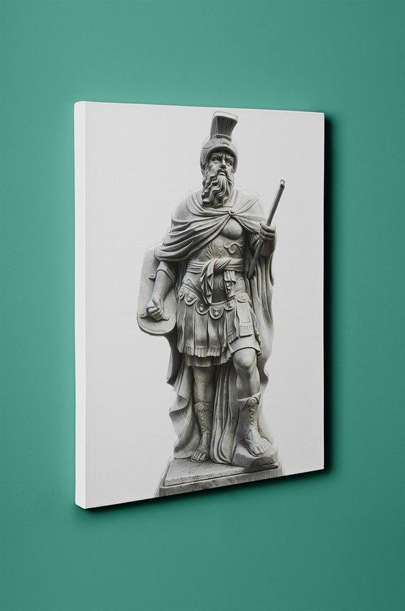 Male Roman Statue on Mirror Wrapped Canvas