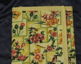 New item! - Business Womans fabric portfolio bird and floral fabric design