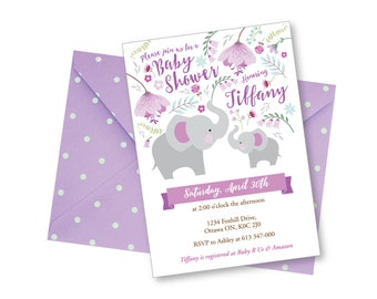 Floral Elephant Baby Shower Invitation / DIY Baby Shower Invitation /  Mother & Baby Elephant Invitation