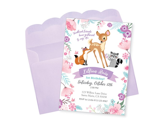 Baby Deer Birthday Party Invitation, Printable, Customized, DIY invitation, Girl's First Party, One-derland party, Woodland Friends Invite