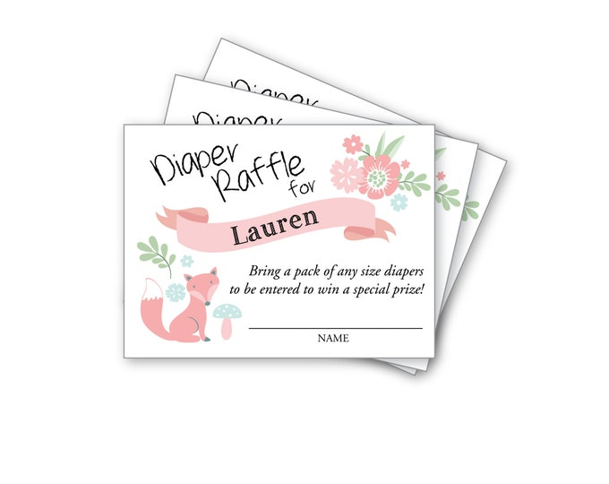 Baby Girl Shower Diaper Raffle Ticket, Printable, Customized - woodland theme - pink baby shower, pink animals
