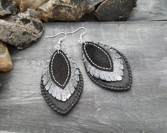 Long leather earrings. Dangle earrings. Boho earrings. Bohemian earrings. Leather jewelry. Black earrings. Bohemian leather earrings.