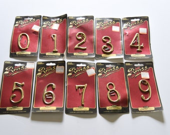 Vintage Solid Brass House Numbers  -Made By Ives - Made In The USA