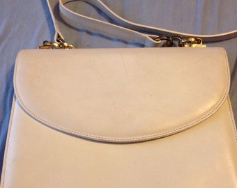 SALE! Vintage Salvatore Ferragamo Ivory Leather Handbag