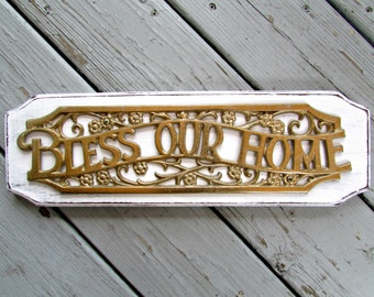 Shabby Wood and Brass Bless Our Home Vintage Sign Plaque
