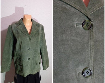 Vintage Green Leather MISS ETAM Button jacket blazer Size M