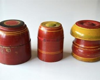 A set of 3 beautiful antique round wooden spice pots SP9