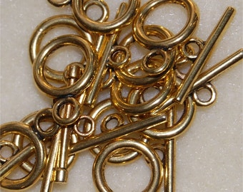 CLASPS, Circular Toggle type, 12 Gold Tone, bar approx 22mm long, clasp approx 20mm