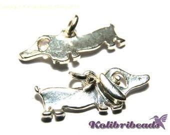 2x Dachshund Dog Charm 20 mm - Silver plated