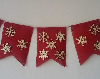 Red Burlap Christmas Garland with Wooden Snowflakes
