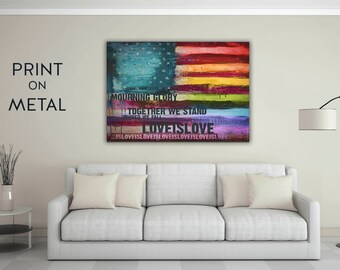 Love is love art print metal wall art lgbt art inspirational artwork inspiring artwork rainbow artwork inspirational quote colorful artwork